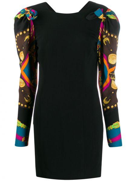Черное шелковое платье на молнии с вырезом Versace