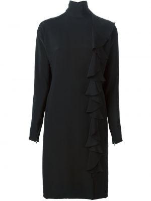 Шелковое черное платье миди винтажное с оборками Guy Laroche Pre-owned