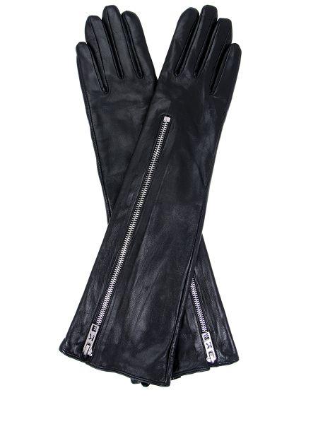 Кожаные деловые черные перчатки длинные на молнии Karl Lagerfeld