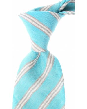 Szary krawat w paski z jedwabiu Kiton