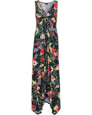 Платье с поясом с декольте длинное Bonprix