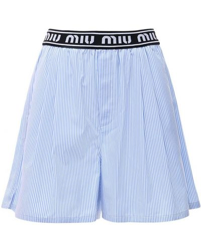 Хлопковые шорты в полоску на резинке Miu Miu