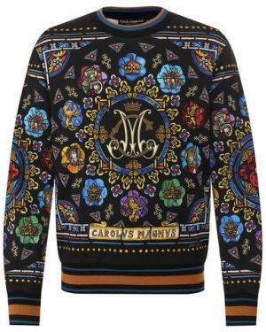 Хлопковый мягкий черный свитшот Dolce & Gabbana
