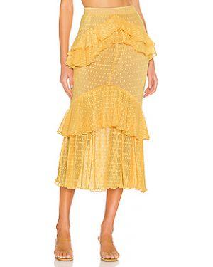 Желтая юбка миди с оборками с вырезом в рубчик Song Of Style