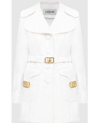 Белое пальто с пряжкой Lanvin