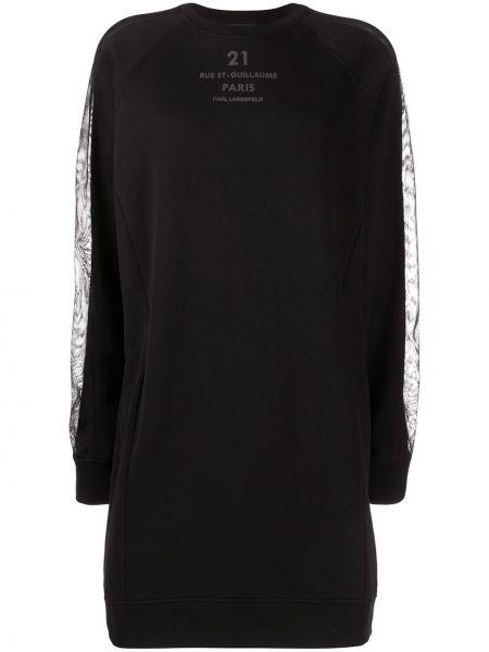 Черное прямое облегающее платье в рубчик узкого кроя Karl Lagerfeld