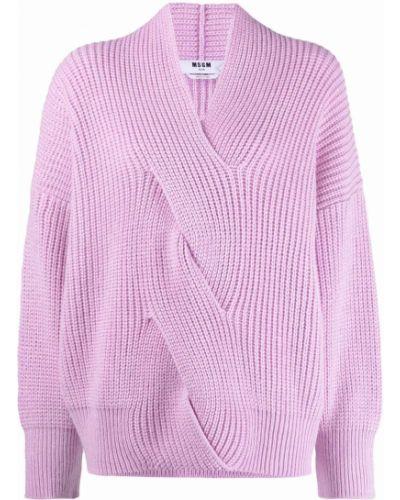 Джемпер с вырезом - розовый Msgm