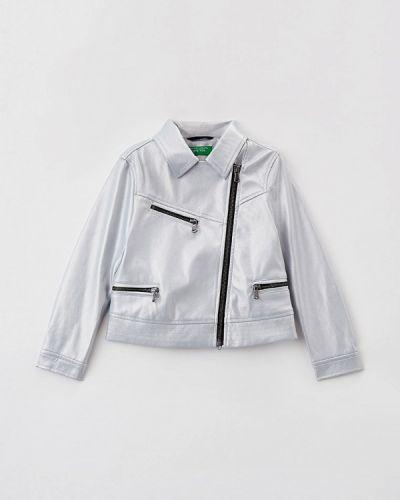Облегченная серебряная кожаная куртка United Colors Of Benetton