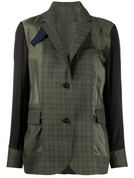 Зеленый однобортный пиджак с карманами Sacai