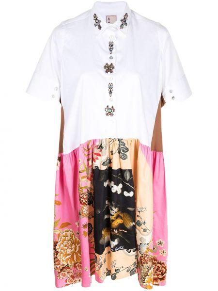 Klasyczna sukienka mini krótki rękaw w kwiaty Antonio Marras
