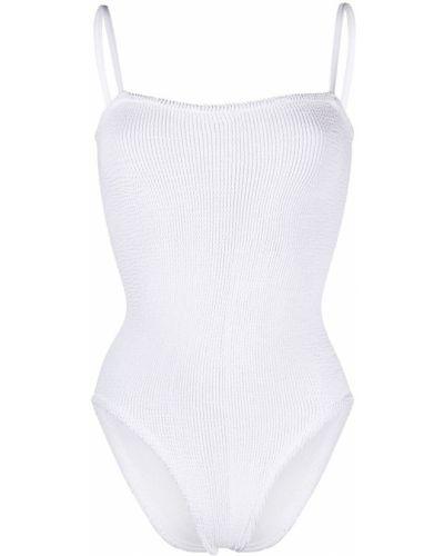 Тонкий брендовый белый купальник с шортами Hunza G