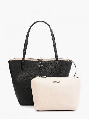 Черная кожаная сумка Guess