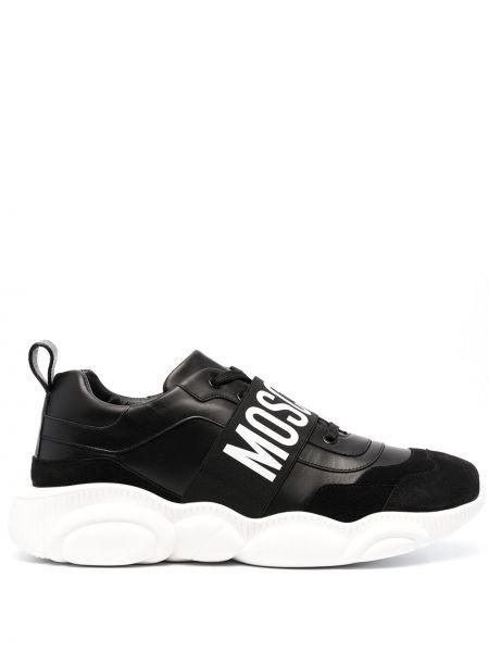 Koronkowa skórzany czarny sneakersy okrągły Moschino