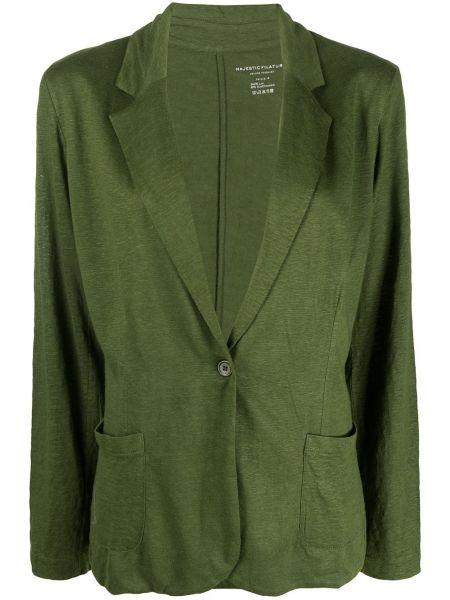 Зеленый пиджак с карманами с воротником Majestic Filatures