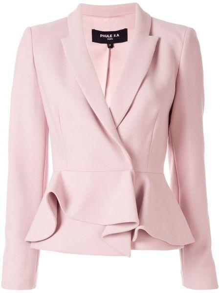 Шерстяной розовый пиджак с баской Paule Ka