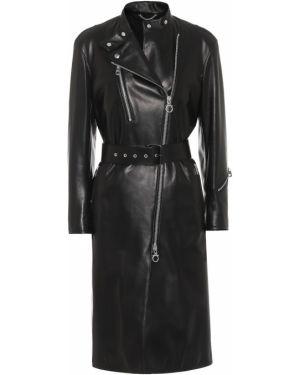 Черное пальто с опушкой Salvatore Ferragamo