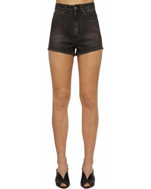 Черные кожаные джинсовые шорты с карманами Givenchy