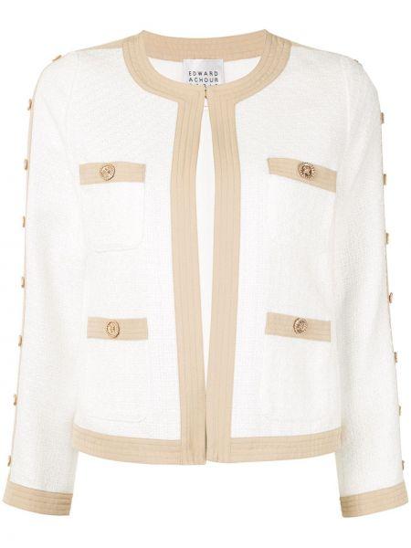 Белый пиджак с накладными карманами на пуговицах Edward Achour Paris