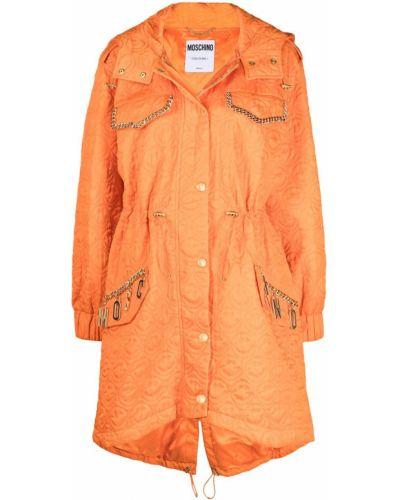 Оранжевое однобортное длинное пальто с капюшоном Moschino