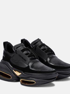 Кожаные черные кроссовки Balmain