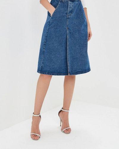 Джинсовая юбка синяя весенняя Lost Ink.