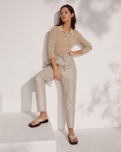Кожаные брюки - бежевые 12storeez