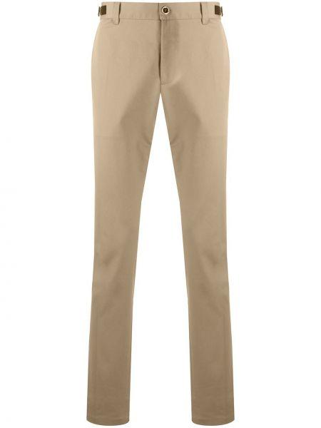 Коричневые кожаные брюки дудочки с поясом Versace