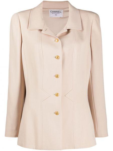 Бежевая длинная куртка с воротником на кнопках Chanel Pre-owned