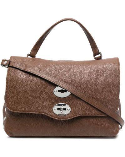 Коричневый кожаный сумка на плечо с карманами Zanellato