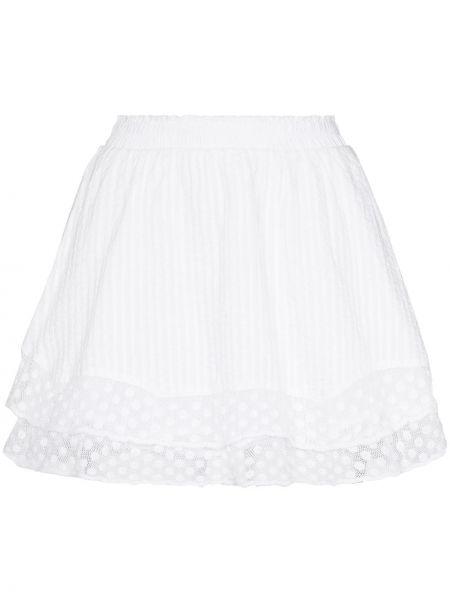 Хлопковая с завышенной талией белая юбка мини Loveshackfancy