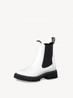 Белые кожаные ботинки Tamaris