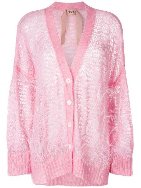 Розовый кардиган оверсайз с перьями из мохера N°21