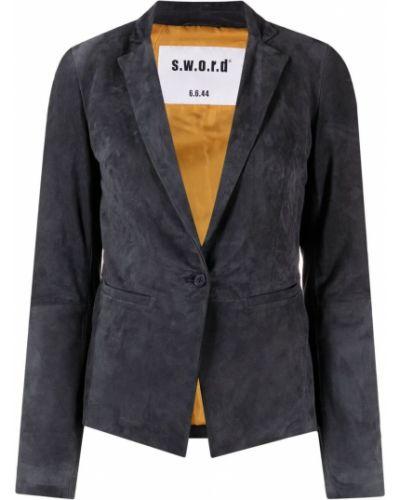 Серый приталенный кожаный пиджак S.w.o.r.d 6.6.44