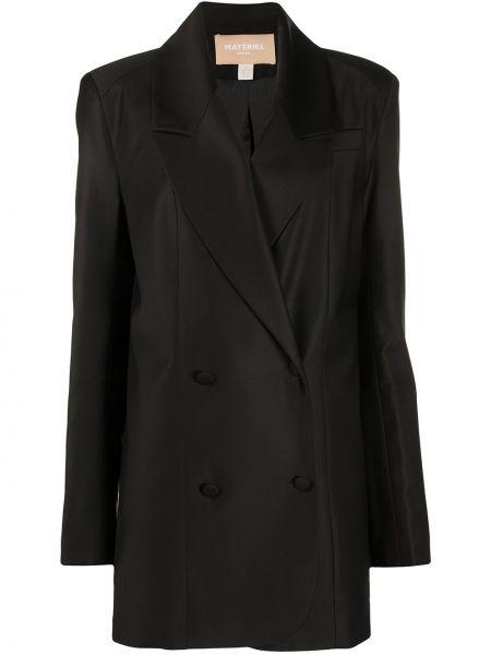 Шерстяной черный пиджак двубортный Matériel