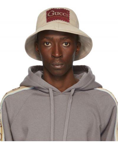 Bawełna biały kapelusz z łatami prążkowany Gucci