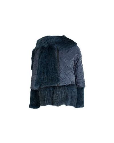 Куртка из лисы - синяя Yves Salomon
