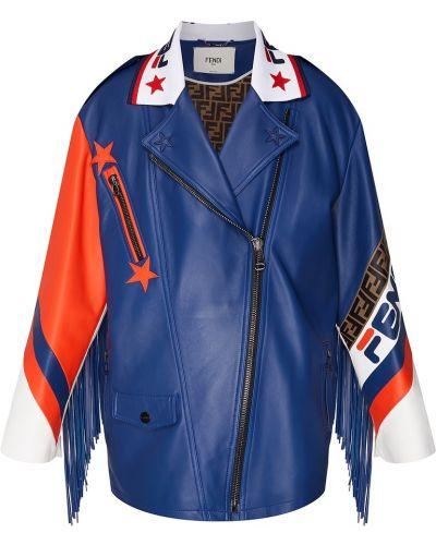 Кожаная куртка с надписью с подкладкой Fendi