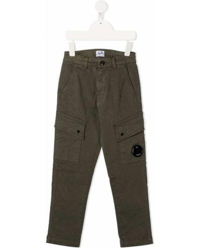 Хлопковые зеленые брюки карго с карманами с потайной застежкой Cp Company Kids