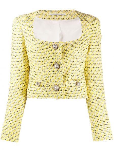 Желтый пиджак твидовый на пуговицах Alessandra Rich