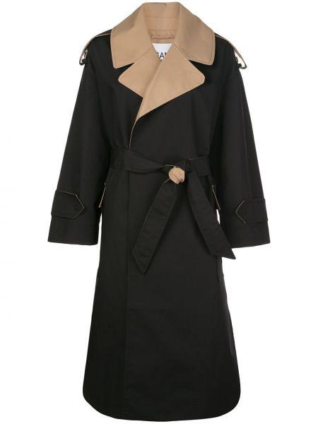 Черный пальто классическое с поясом с воротником Ganni