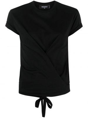 Черная футболка с надписью с вырезом Dsquared2