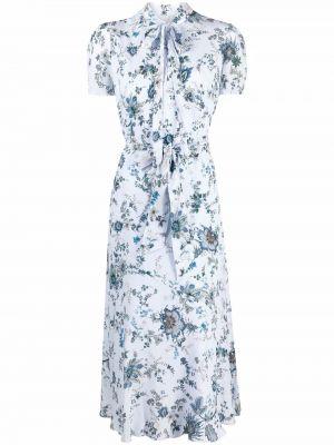 Niebieska sukienka mini z printem Erdem