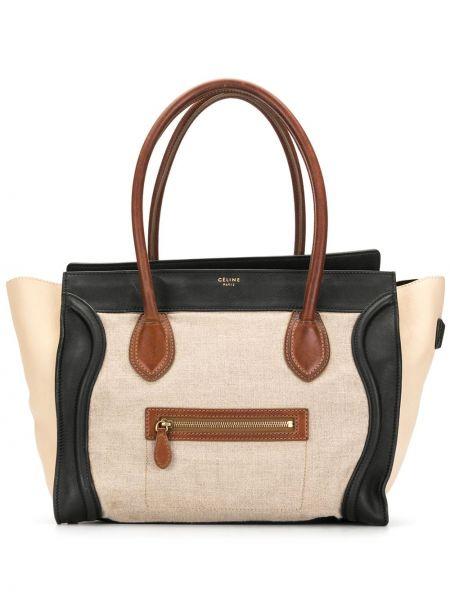 Коричневая сумка-тоут на молнии с карманами со вставками Céline Pre-owned