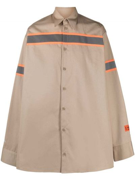 Z rękawami brązowy klasyczna koszula z paskami z kołnierzem Heron Preston
