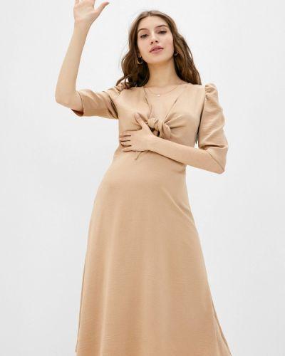 Прямое бежевое платье Mondigo