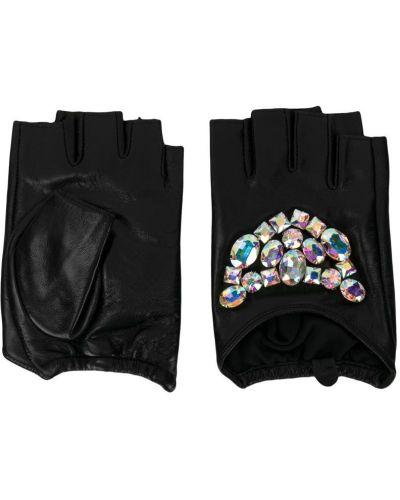 Перчатки без пальцев черные с камнями Karl Lagerfeld