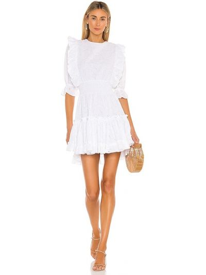 Хлопковое белое платье с подкладкой Misa Los Angeles