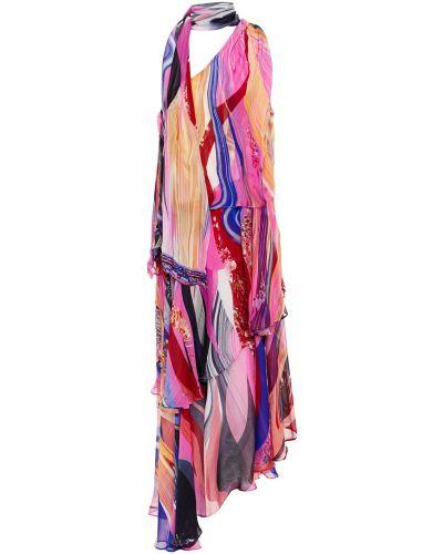 Шелковое розовое платье миди с драпировкой Camilla