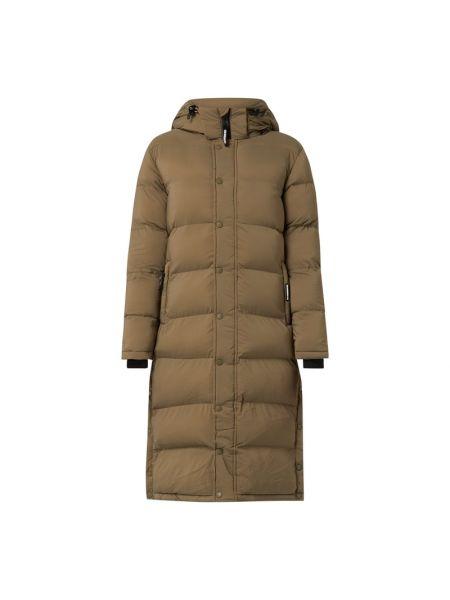 Zielony płaszcz pikowany z nylonu Khujo