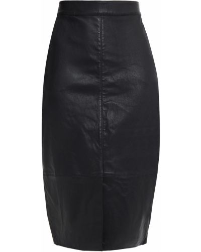 Черная кожаная юбка карандаш с карманами Ba&sh